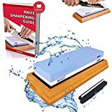 Premium Knife Sharpening Stone Kit 2 Side 1000/6000 Grit Whetstone Best Kitchen Blade Sharpener Stone Non-Slip Bamboo Base and Bonus Angle Guide