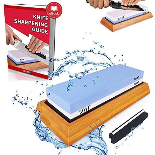 Premium Knife Sharpening Stone Kit 2 Side 1000/6000 Grit Whetstone Best Kitchen Blade Sharpener Stone Non-Slip Bamboo Base and Bonus Angle Guide (Best Knife Sharpening Guide)