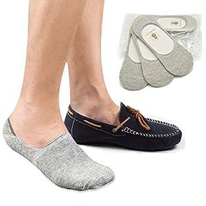 No Show Socks 8BESS GIFT Mens Socks Low Cut Non-Slip Grips Grey M, 3 Pairs