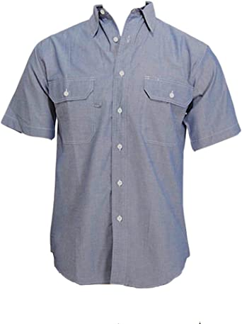 Two Front Pocket with Mitered Flaps Ws Blue Collar Outlet Mens Chambray Long Sleeve Shirt