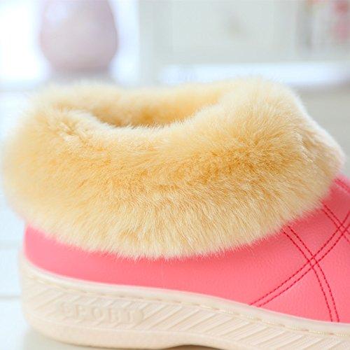 In autunno e in inverno le coppie impermeabile confezione con cotone pantofole home spessa calda pelle pu gli uomini e le donne di casa scarpe di cotone, bambini scarpe ,46-47 (43-44 piedi), caffè di
