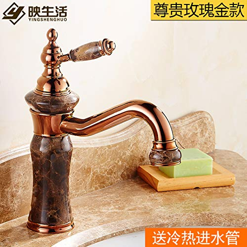 8 LHbox Basin Mixer Tap Bathroom Sink Faucet European faucet sink hot and cold Green Jade Marble Sinks Faucets full copper gold wash basin mixer, deluxe redating pink gold)
