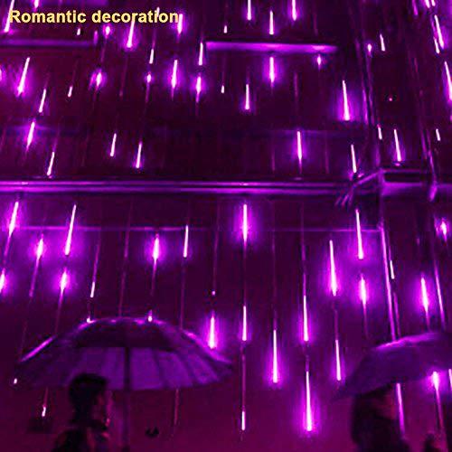 (Low Power Consumption Energy Saving Meteor Shower Romantic Aesthetic Party LED Lights Meteor Shower Rain Snowfall Xmas Tree Garden Outdoor Purple)
