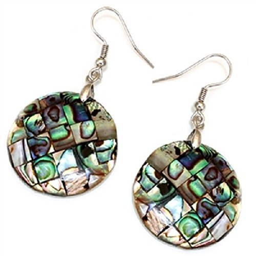 - Mosaic Abalone Shell Inlay Earrings - Circle