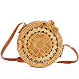LaviniaLee Round Rattan Beach Bag Handwoven Crossbody Shoulder Bag Long Leather Strap