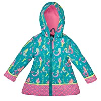 Stephen Joseph All Over Print Rain Coat, Mermaid,4T