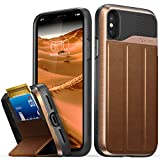 #6: iPhone X Wallet Case, Vena [vCommute][Military Grade Drop Protection] Flip Leather Cover Card Slot Holder with KickStand for Apple iPhone X / 10 (Copper / Black)