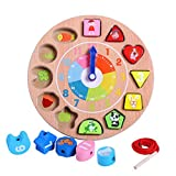 BabyPrice Wooden Teaching Time Clock, Shapes Sorting Games Learning Number Tools Lacing Beads Educational Toys 100% Solid Wood