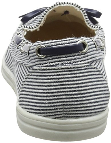 100 Mocassini Canvas Perkins Loat stripe Dorothy Donna Blu 1qPUp0F