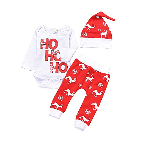 New Baby Boys Girls Christmas Outfit Long Sleeve Romper Elk Printed Pants Xmas Gift Clothes (0-6 Months, Red)