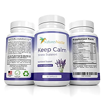 Keep Calm - Natural Stress And Anxiety Relief Supplement - Capsules Help Fight Panic Attacks & Depression - Made of Valerian, Magnesium, GABA, Vitamins B +C With Added Melatonin for Sleep Supplement