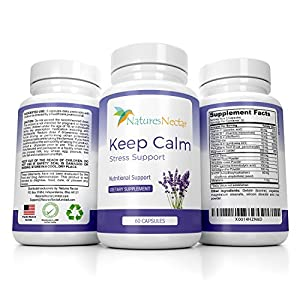 51imaMcNTPL. SS300  - Keep Calm - Natural Stress And Anxiety Relief Supplement - Capsules Help Fight Panic Attacks & Depression - Made of Valerian, Magnesium, GABA, Vitamins With Added Melatonin for Sleep Supplement
