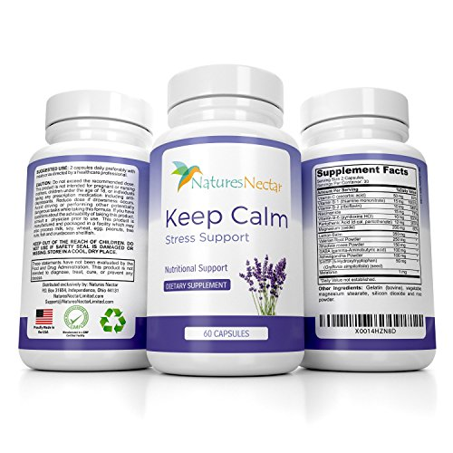 Keep Calm - Anti Anxiety Relief Supplements Formulated for Natural Anxiety Relief - Helps Fight Panic Attacks with a Calming Joy Filled Cortisol Boost - Anti Stress Supplement & Stress ()