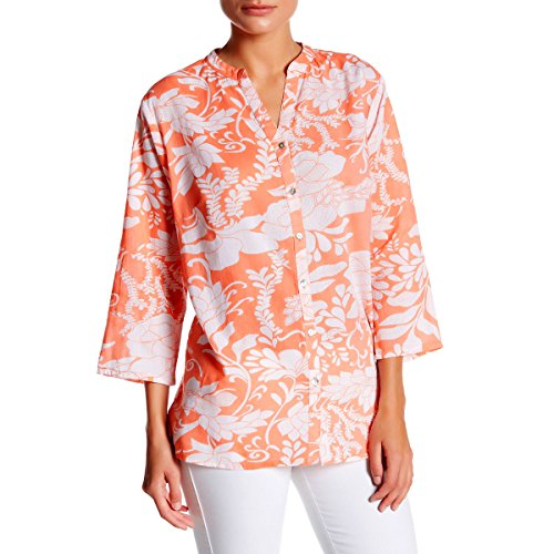 [KC Signatures Women's 100% Fine Cotton Top with Retro Bold Print and Front Button Closure (Large)] (Paisley Silk Jersey)