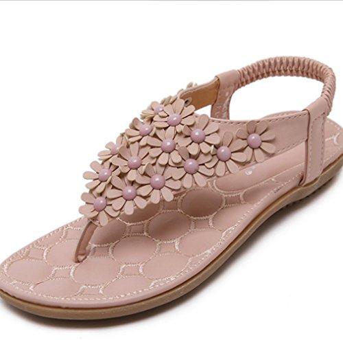 Las Mujer Sandalias De Dulce Playa Plana Mujeres Zapatillas Imitación Boho Flor Rosado Femeninas Vacaciones Zapatos Xiaoqi Tanga Moda Diamantes Verano qzOwE