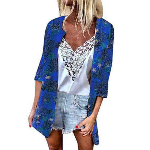 Chiffon Cardigan for Women Long,SMALLE◕‿◕ Women's 3/4 Sleeve Kimono Floral Cardigan Summer Swimsuit Sunscreen Cover Up - Adjustable Collar 0.75 Tuff