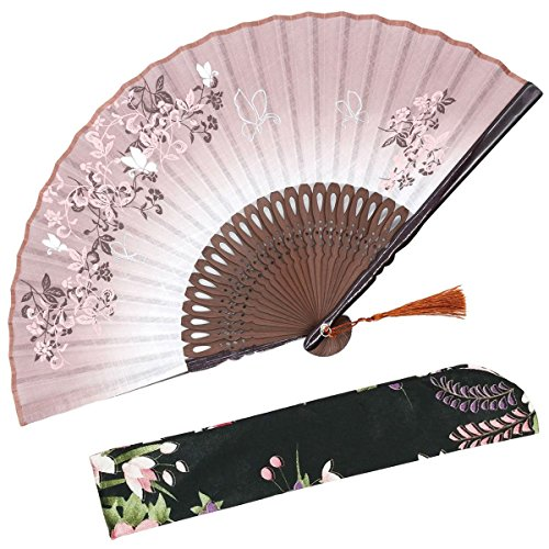 OMyTea 8.27(21cm) Women Hand Held Silk Folding Fans with Bamboo Frame - With a Fabric Sleeve for Protection for Gifts - Chinese/Japanese Style Butterflies and Morning Glory Flowers Pattern (Brown)