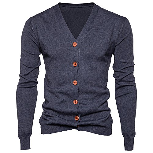 Toimothcn Men's Cozy Cotton Button Coat Long Slim Fit Solid Jacket Lightweight V Neck Sweater (Dark Gray,XL)
