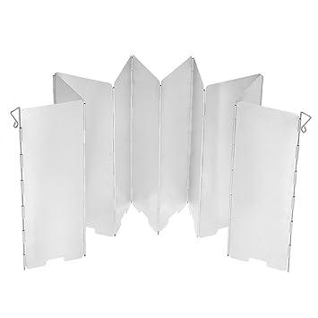 TOMSHOO Parabrisas Plegable de 10 Placas Aluminio de Aleación para Estufa de Gas Pantalla de Viento para Camping Picnic al Aire Libre: Amazon.es: Jardín