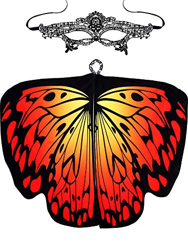 Blulu Halloween Soft Fabric Butterfly Wings Shawl Fairy Ladies Cloak with Mask (Color G) -