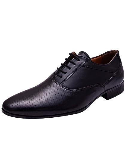 eda93187f691 HiREL'S Men Black Oxford Office Formal Shoes: Buy Online at Low ...