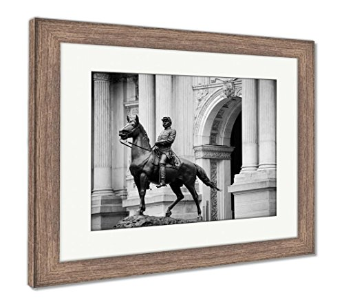 Philadelphia Statue City Hall (Ashley Framed Prints General Geo B Mcclellan Statue In Front Of City Hall In Philadelphia, Wall Art Home Decoration, Black/White, 26x30 (frame size), Rustic Barn Wood Frame, AG6488053)
