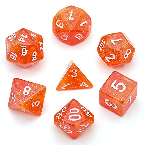 Polyhedral 7-Die Dice Set Glitter Dnd Gaming Dice for Dungeons and Dragons by Hengda Dice (Red and Orange)