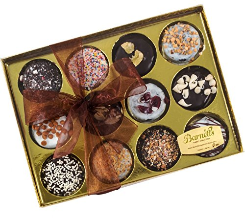 Barnett's Sweet Creations | Gourmet Hand-Crafted Chocolate Coated Sandwich Cookies | 12 Chocolate Covered Sandwich Cookies in 12 Delicious Flavors | in Elegantly Wrapped Gift Basket