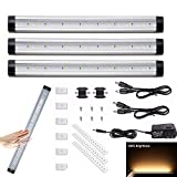 Greenclick Dimmable Under Cabinet Lights,Touch Control Under Counter led Lighting Strips for Kitchen Counter, Closet, Shelf Lights,3000K Warm White,Pack of 3
