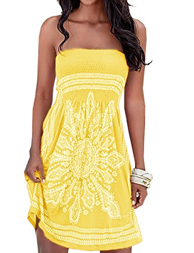 er Dress Strapless Floral Print Bohemian Casual Mini Cover up Beach Dresses(YE,S) ()