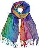 NYFASHION101 Elegant Colorful Paisley Soft Pashmina Scarf Shawl Wrap NBH1401Y - Light Rainbow 20