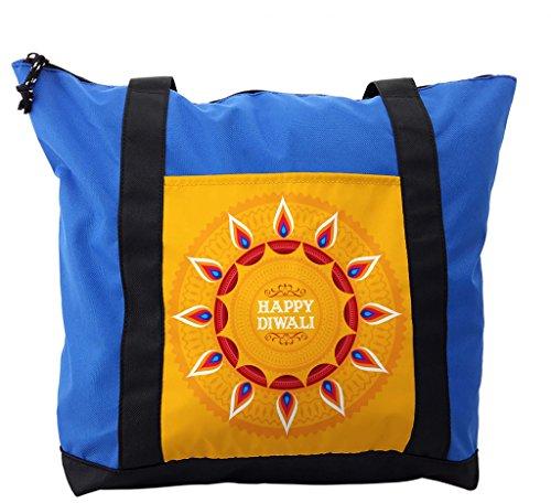 Lunarable Diwali Shoulder Bag, Ethnic Cartoon Arrangement, Durable with Zipper by Lunarable