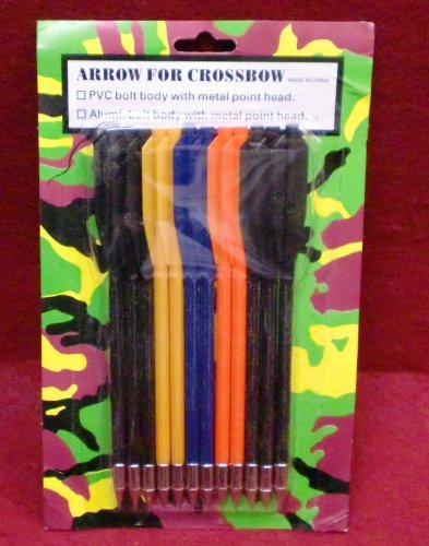 12 PVC Crossbow Bolts Colored 50-80 Lbs Pistol Style Crossbow