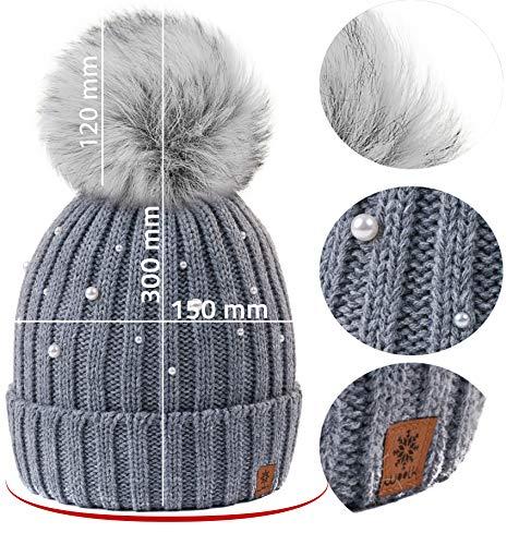 Ski 4sold Beanie Ladies Con Womens Snowboard Girls Cap Bobble Pom Gris Color Modelo Winter Women 2 Knit Ball Hat Wool Big ZZwrq4