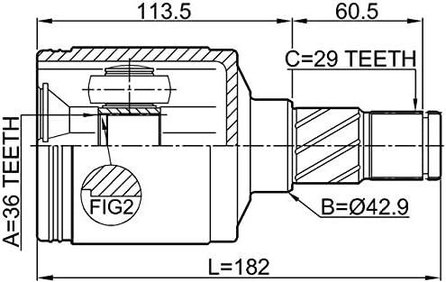 Inner Joint Left 36X42.9X29 Febest 2011-COMLH Oem 52104701AB