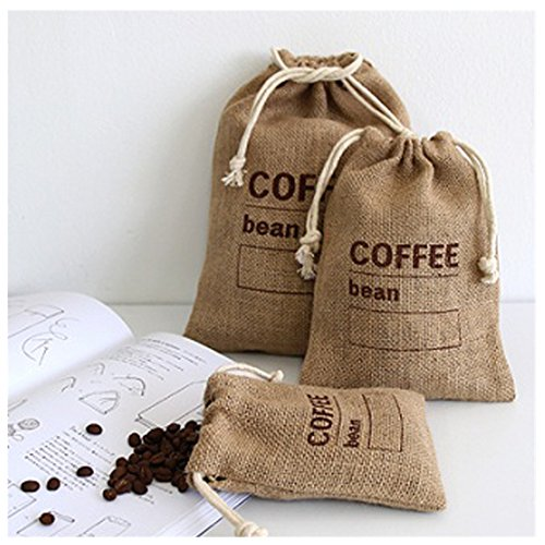 "Cereals Jute Woven Bundles Coffee Bean Bags Pantry Sundries Peas Bags Sacks Date Record Natural Burlap Bags Drawstring Reusable (3, 11.8"" X 7.87"")"