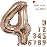 Large Number Balloons Champagne Gold Foil Balloons Rose Gold Party Decorations