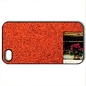 Angolo fiorito Floral corner - Case Cover for iPhone 4 and 4s (Houses Series, Watercolor style, Black)