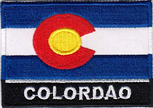 USA State United States Iron on Flag Patch Heat Seal Multicolor Applique (Colorado CO) ()