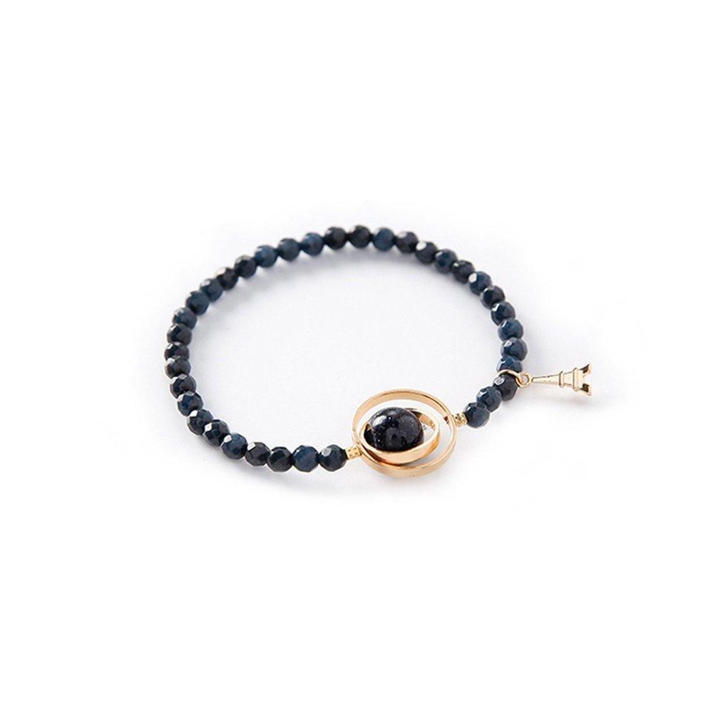 DaoAG-Accessories Gemstone Charm Bracelets for Women Natural Stone Beads Bracelets Jewelry Strenchy Chain Bracelet Vintage Bangle Bracelets for Women & Girls (Blue)