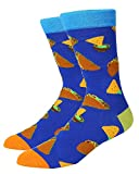 Happypop 1 Pack Men Royal Blue Food Novelty Crew Crazy Funny Socks with Taco