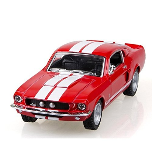 (Scale 1/38 1967 Ford Shelby Mustang GT-500 diecast car RED)