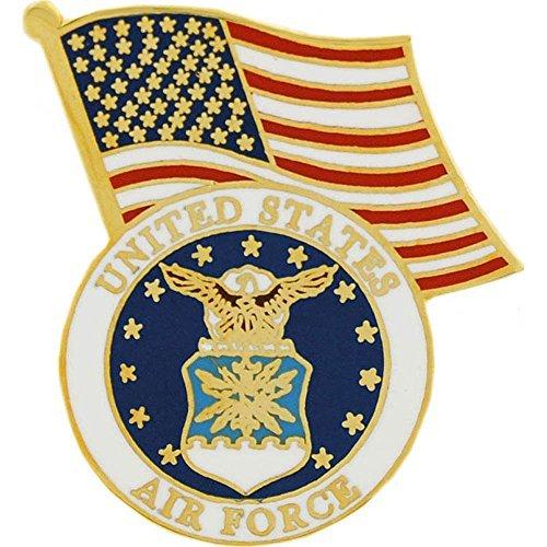 (EagleEmblems United States Air Force Logo Emblem and American Flag Lapel/Hat Pin)