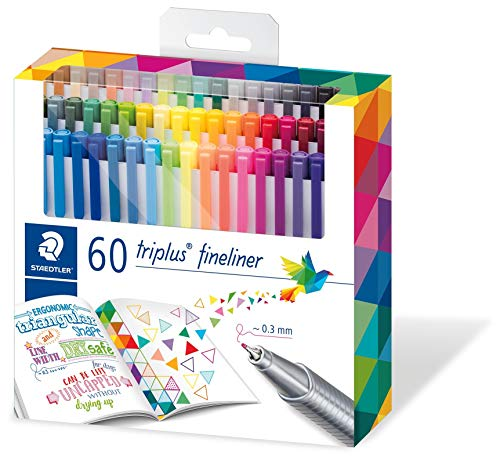 Staedtler Triplus Colour - Staedtler triplus fineliner triangular, set with 60 brilliant colours, made in Germany, super fine, metal-clad tip, line width approx. 0.3 mm, 334 C60