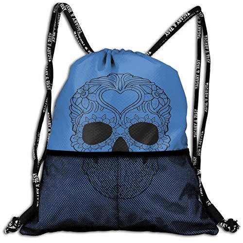 Drawstring Backpacks Skull Black & White Leisure Bundle Backpack Beam Backpack Sport Gym Travelling -