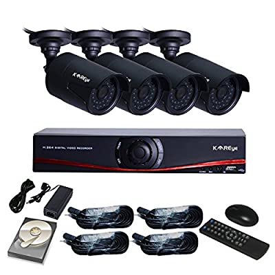KAREye 720P 4CH NVR Kit Network Security Camera System CCTV Video Surveillance Kits,4PCS IR CUT 15-20m Distance Camera with 1TB HDD,Black