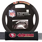 Fremont Die FMT-93105 San Francisco 49ers NFL Steering Wheel Cover and Seatbelt Pad Auto Deluxe Kit - 2 Pc Set