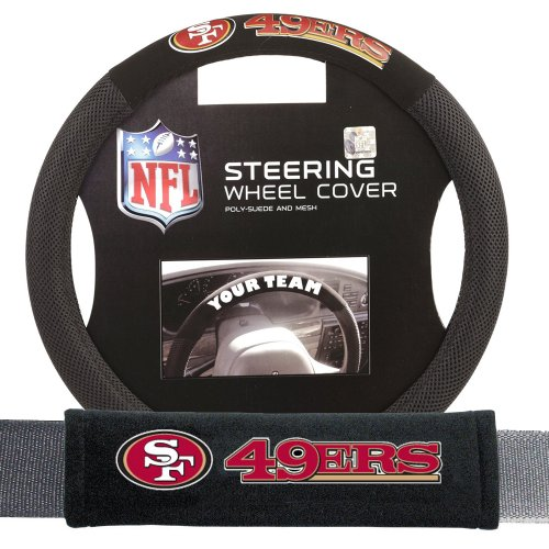 Fremont Die FMT-93105 San Francisco 49ers NFL Steering Wheel Cover and Seatbelt Pad Auto Deluxe Kit - 2 Pc Set by Fremont Die