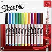 Sharpie Marcadores permanentes 37175, ponta ultrafina, cores sortidas, pacote com 12
