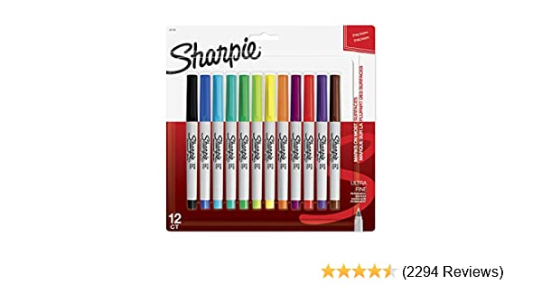 Sharpie 37175PP Permanent Markers, Ultra-Fine Point, Assorted Colors, 12 Pack